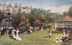 Painting of the Old Steine, Brighton in the The Old Steine was originally an open green where fishermen could dry their nets. It became an area for Brighton visitors. It is now a thoroughfare. Brighton Sussex, Brighton England, Brighton And Hove, East Sussex, Vintage Photos, Britain, Dolores Park, The Past, Old Things