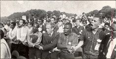 White and Black Lock Arms at Freedom March, Washington D.C. 1963 photo by LIFE photographer, Francis Miller