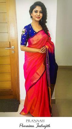 Poornima Indrajith in Pranaah - long sleeve cream blouse, satin silk blouses shirts, floral… - Wedding Lover Sari Blouse Designs, Saree Blouse Patterns, Simple Sarees, Bollywood, Blouse Models, Saree Look, Elegant Saree, Saree Dress, Saree Styles