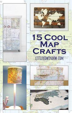 15 Cool Map Crafts!  |  littleredwindow.com  |  Turn those old maps into something amazing!
