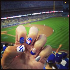My nail art for the Hello Kitty Blanket giveaway at Dodger Stadium. Los Angeles Dodgers Nails. Nail Art. Baseball. Heart. French Tip. Glitter. LA. Blue. Silver. White. DIY.