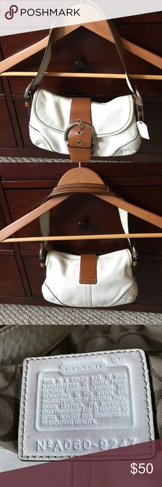 Beautiful Authentic Coach Shoulder Mini Purse Beautiful Authentic Coach Shoulder Mini Purse 👛 in pristine condition. Lining is super clean and well taken care of. Color Bone and Brown Coach Bags Mini Bags