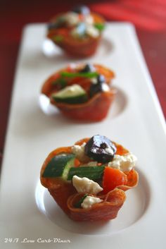 24/7 Low Carb Diner: Crisp Salami Cup Appetizers. These are really easy, delicious and impressive for party food. No gluten or sugar! Less than 1 carb each and just 45 calories.
