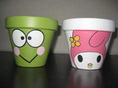 Hand painted Keroppi and My Melody garden by HANNIBALSTOYSNMORE, $19.99
