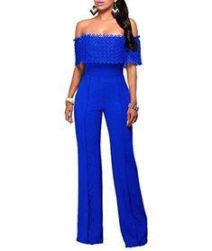 Ofertas de YOUJIA Mujer Mono Jumpsuits Elegante Fuera del hombro Bodysuit Verano Pantalones Largos para Fiesta Playa (Azul, XL)