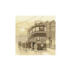 Designed for Heritage Crafts' Silhouette series, Tram Stop cross stitch is a silhouetted design that features a tram and people waiting to board. A beautiful nostalgic project to get stuck into. Heritage Crafts, Cross Stitch Kits, Waiting, Silhouette, Embroidery, Board, People, Beautiful, Design