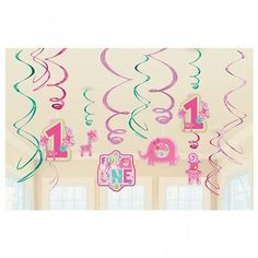 Fun at one 1st #birthday girl #party #swirls hanging decoration pack of 12,  View more on the LINK: http://www.zeppy.io/product/gb/2/221735684984/