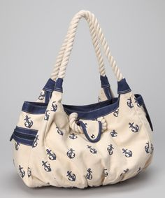 Straw Studios Navy & White Anchor Tote