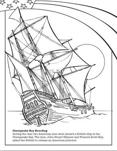 Download Fun Star Spangled Watermelon Coloring Sheets For Your Kids.  History Is Fun! #