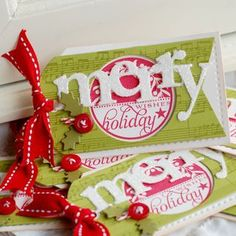 Christmas tags by Betsy Veldman for Papertrey Ink (October 2011).