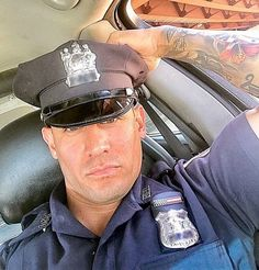 I think I could develop a lead foot real quick. Cop Uniform, Men In Uniform, Sexy Military Men, Hot Cops, Bear Men, Muscular Men, Guy Pictures, Hairy Men, Good Looking Men