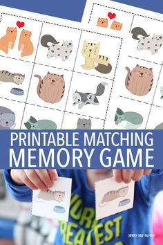 Free printable cat matching memory game for kids! Preschoolers love memory games, and these adorable cats will keep them entertained for hours. So cute for little cat lovers and a great learning activity too. Preschool Learning Activities, Indoor Activities For Kids, Free Preschool, Preschool Activities, Free Games For Kids, Memory Games For Kids, Matching Games For Toddlers, Printable Activities For Kids, Free Printables
