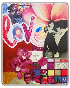 Love Collage Art Print - Colorful and romantic, this mixed media collage invokes some of the best parts of falling in love – kissing, bright colors and seeing flowers everywhere. Original artwork by Tanya Madoff. Love Collage, Mixed Media Collage, Collage Art, Paper Artwork, Artwork Prints, Original Artwork, Romantic, Creative, Flowers