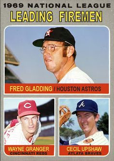 Cards That Never Were: 1970 Topps NL Leading Firemen: Fred Gladding, Wayne Granger, Cecil Upshaw Baseball Classic, Baseball Star, Baseball Players, Old Baseball Cards, Baseball Photos, Oakland Raiders Logo, Willie Mays, Sports Figures, National League
