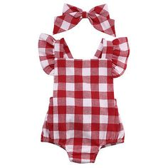 Newborn Infant Kids Baby Girl Red Plaid Romper Jumpsuit  With Headband Outfit Clothes 0-18M AU