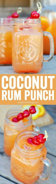 Punch Coconut Rum Punch Recipe - a delicious combination of tropical flavors and coconut rum to make one tasty party drink!Coconut Rum Punch Recipe - a delicious combination of tropical flavors and coconut rum to make one tasty party drink! Rum Cocktails, Bar Drinks, Cocktail Drinks, Alcoholic Drinks, Drinks Alcohol, Alcohol Shots, Alcohol Punch, Punch Drink, Cocktail Recipes