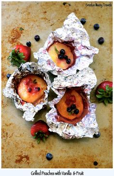Grilled Nectarines - With Honey, Vanilla &Berries - Must Try On Your Next Camping Trip - Has Summer Written All Over It