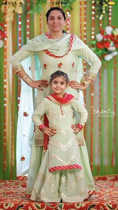 Mother daughter matching outfits ideas for wedding season - Indian Fashion Ideas Red Lehenga, Lehenga Choli, Anarkali, Patiala Salwar, Sharara, Kurti, Indian Dresses For Kids, Kids Indian Wear, Mom Daughter Matching Outfits