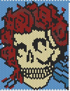 Grateful Dead Skull ~ I love finding these. I can use them to make quilts after I graph it all out. This one will be tricky though. But so worth it. Just need to start collecting some red white blue and black fabrics Kandi Patterns, Peyote Patterns, Cross Stitch Patterns, Grateful Dead Skull, Grateful Dead Dancing Bears, Cross Stitching, Cross Stitch Embroidery, Modele Pixel Art, Free Crochet Doily Patterns