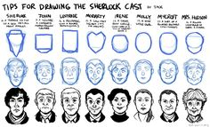 "Draw Sherlock-- for my ""little"" artist. She identified all the characters before realizing their names were on top. 0.o"