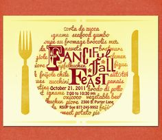 Dinner Party Invitation, Fall Feast with French, Italian, Spanish, Hungarian, Romanian, International food, Printable. $15.00, via Etsy. Great idea to make on my own!!