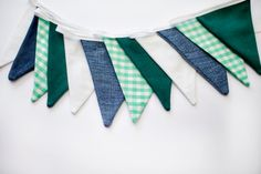 Fabric Bunting in Green White and Blue by chickenandcustard