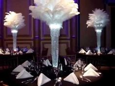 Rent our Great Gatsby inspired 1920's themed Ostrich feather Centerpieces. Call and ask for a free price quote and our 34 page color brochure at (631) 421-2286. We service the NY, NJ, PA & CT areas. Visit us on the web at www.sweet16candelabras.com by email cherrise@sweet16candelabras.com