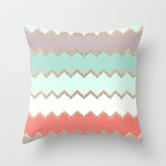 AVALON CORAL Throw Pillow by Monika Strigel - $20.00  #glitter #sparkle #chevron #stripes #coral #mint #seagrreen #white #nude #teal #brown #beige  #apartment #bathroom #pillow