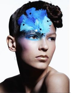 Blue Make-up with Feathers