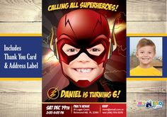 Turn your boy into The Flash and be the star of his Birthday Invitation. The Flash Birthday Invitation, Flash Invitation, The Flash Party. by MyHeroAtHome on Etsy https://www.etsy.com/listing/449072454/turn-your-boy-into-the-flash-and-be-the