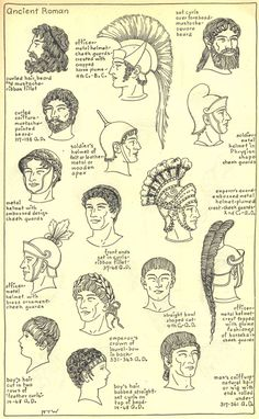 Early Ancient Rome: coiffure rome antique i wanted us to look at this image so we can see what kind of helmets they brought out to war to protect themselves Ancient Rome, Ancient Greece, Ancient History, Historical Costume, Historical Clothing, Ancient Roman Clothing, Roman Hairstyles, Roman Man, Roman Clothes