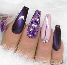 Pink and purple nails Credits @natdhanails