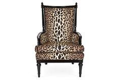 One Kings Lane - Ivy and Vine - Regency-Style Throne Cheetah Chair