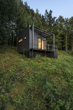 Etno Hut is a Tiny Cabin on the Edge of a Forest in Lithuania by Utopium - charles wolford - Prefab Cabins, Tiny Cabins, Tiny House Cabin, Tiny House Living, Prefab Homes, Cabin Design, Tiny House Design, Concrete Siding, Casas Containers