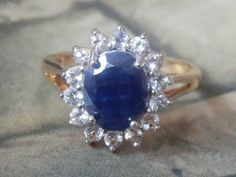 VICTORIA TOWNSEND ORIGINAL 3.85 ct. Natural Sapphire Halo Cocktail Ring, size 8