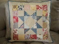 """Simply Small Scrappy Patchwork Pillow made from 2,5"""" squares- A Quilting Life"""