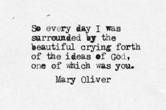 So every day I was surrounded by the beautiful crying forth of the ideas of God, one of which was you ~   Mary Oliver