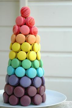 Rainbow wedding macaroon tower