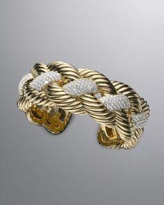 David Yurman Woven Cable Wide Cuff with Diamonds - ShopStyle Bride Jewelry Art, Fine Jewelry, Jewelry Design, Jewelry Ideas, Jewellery Rings, Neiman Marcus Jewelry, Bijou Box, Bangle Bracelets, Yurman Bracelet