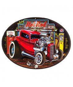 Hot Rod Garage Embossed Tin Sign