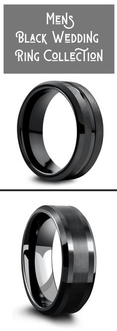 A collection of men's black wedding rings. These unique mens black wedding rings are either crafted out of tungsten carbide, titanium, or ceramic. He really wants a black wedding ring and I just found the perfect one. Wedding Ring Cost, Types Of Wedding Rings, Ruby Wedding Rings, Modern Wedding Rings, Wedding Ring Styles, Wedding Rings Vintage, Wedding Men, Wedding Bands, Gold Wedding