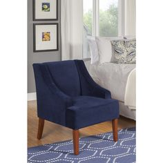 HomePop Ink Navy Swoop Arm Velvet Accent Chair - Overstock™ Shopping - Great Deals on HomePop Living Room Chairs