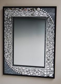 Black framed mosaic mirror with silver Van Gogh glass, beads, white glass, and broken mirror. This mirror measures 18 perfect for a guest bath. Mirror Mosaic, Mosaic Diy, Mosaic Crafts, Mosaic Projects, Mosaic Glass, Mosaic Tiles, Glass Art, Stained Glass, Mosaic Pots