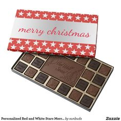 Personalized Red and White Stars Merry Christmas