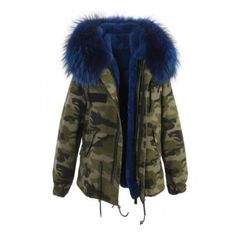 ARMY Raccoon Fur Parka Jacket ($290) ❤ liked on Polyvore featuring outerwear, jackets, zipper jacket, army jacket, army parka jacket, zip pocket jacket and button jacket