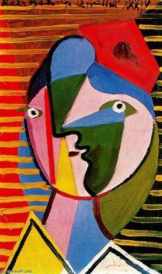Pablo Picasso, Visage De Femmie Sur Fond Raye. The artist used a lot of free form shapes and the back ground has some geometric shapes. Elisha Art 6/02