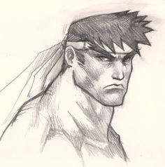 Character Drawings of Famous People | how to draw ryu face How to draw comics man face