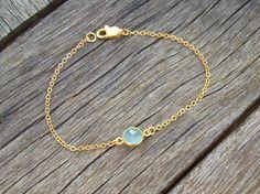 Gold Bezel Seafoam Chalcedony Gemstone Bracelet Gold by cocolocca, $13.00