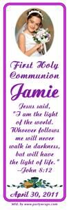 Communion Bookmarker Favors - Party Wraps offers personalized Religious First Holy Communion bookmaker favors. Personalized bookmarkers  gifts that can be personalized with a photo for a communion party.