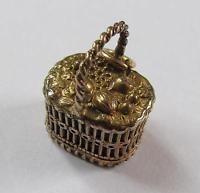 Antique Novelty Gilt Miniature Fob Seal/Basket Of Fruit/Mouse Trap/Prenez Garde